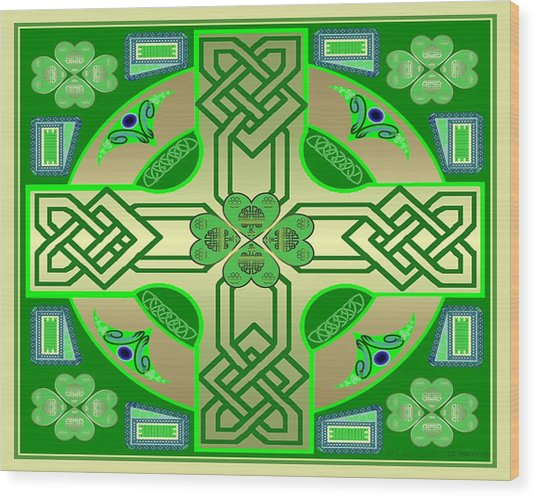 Celtic Clover Knot Wood Print by Mike Sexton