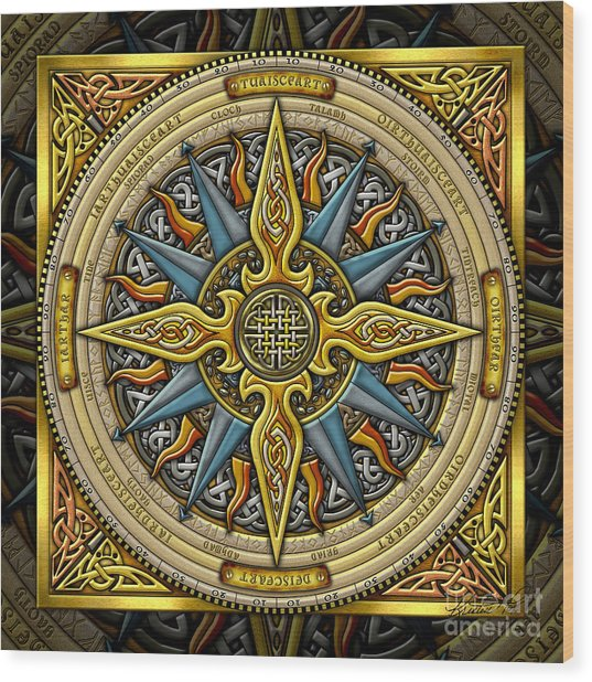 Celtic Compass Wood Print