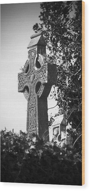 Celtic Cross At Fuerty Cemetery Roscommon Ireland Wood Print