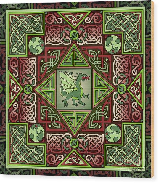 Celtic Dragon Labyrinth Wood Print