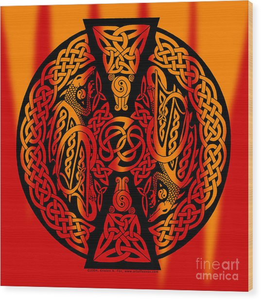 Celtic Dragons Fire Wood Print