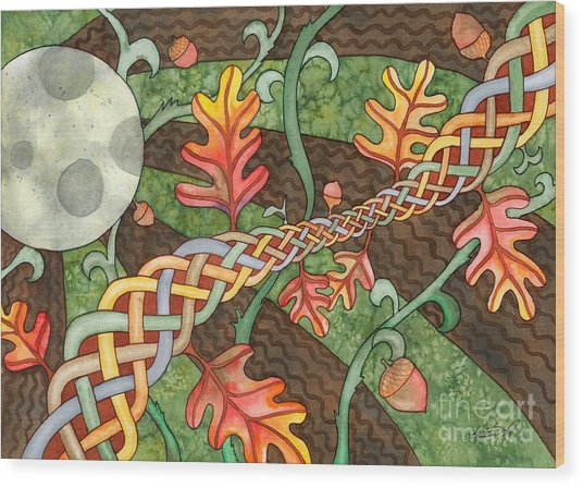 Celtic Harvest Moon Wood Print