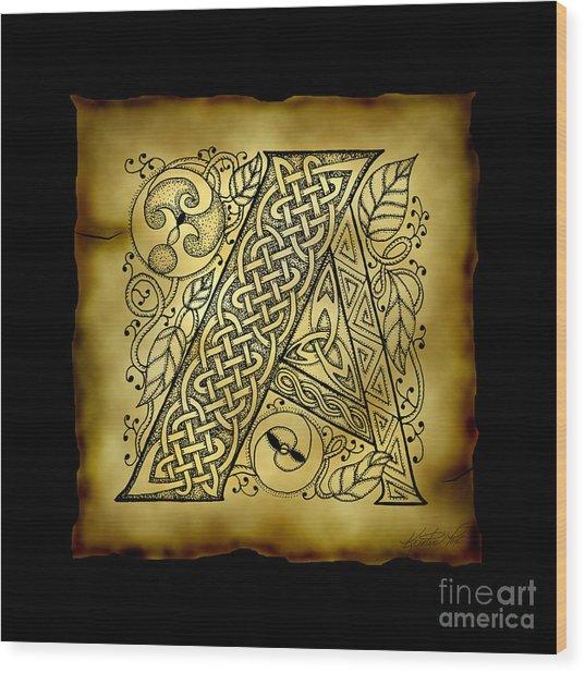 Celtic Letter A Monogram Wood Print
