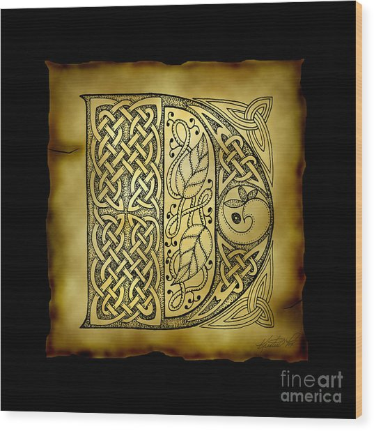 Celtic Letter D Monogram Wood Print