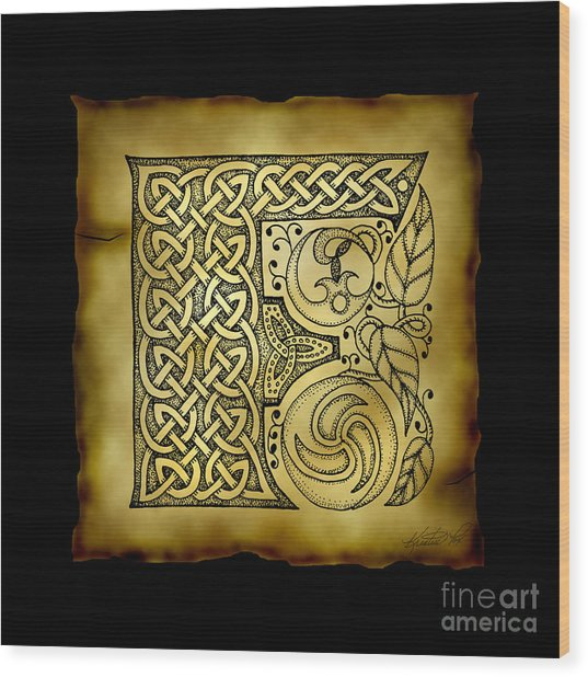 Celtic Letter F Monogram Wood Print