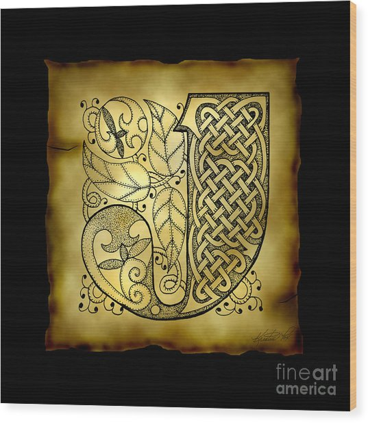 Celtic Letter J Monogram Wood Print