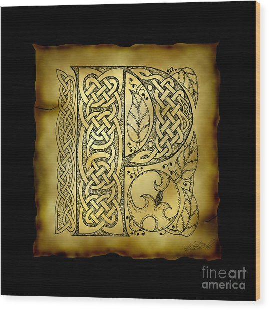 Celtic Letter P Monogram Wood Print