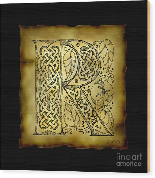 Celtic Letter R Monogram Wood Print