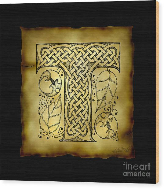 Celtic Letter T Monogram Wood Print