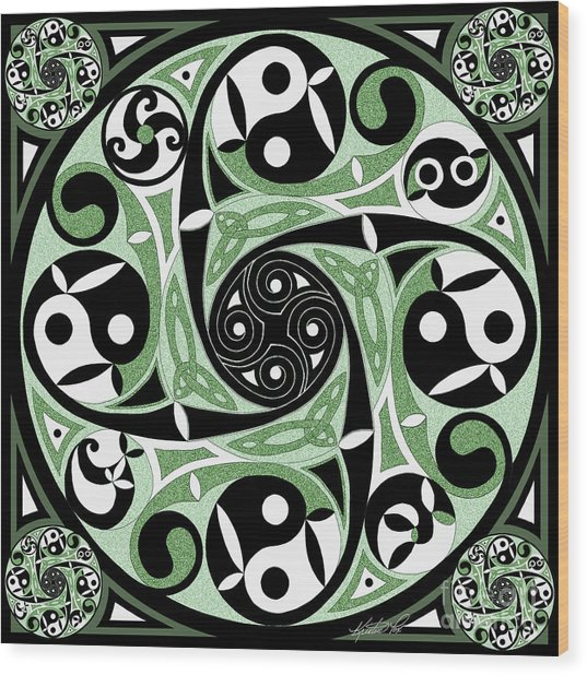 Celtic Spiral Stepping Stone Wood Print