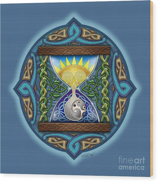 Celtic Sun Moon Hourglass Wood Print