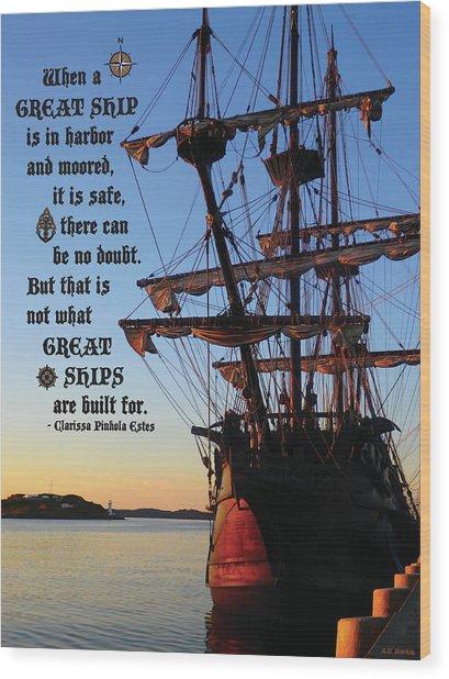 Celtic Tall Ship - El Galeon In Halifax Harbour At Sunrise Wood Print
