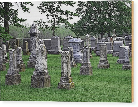 Cemetery Grunge Wood Print by Carl Perry