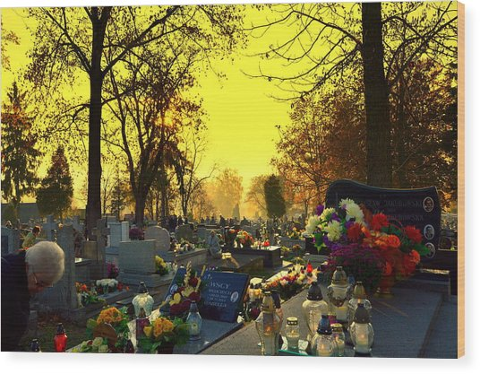 Cemetery In Feast Of The Dead Wood Print