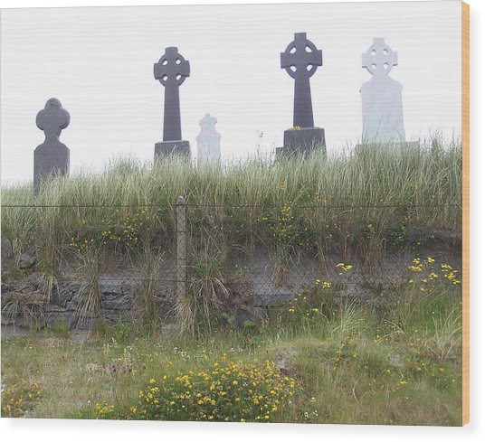 Cemetery On Inisheer Aran Islands Ireland Wood Print by Linda Hardin