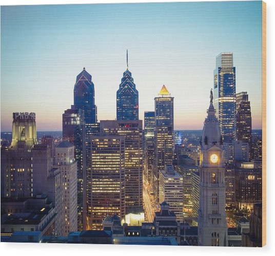 Center City Philadelphia Wood Print by Aaron Couture