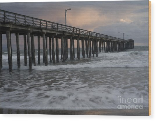 Central Coast Pier Wood Print by Ronald Hoggard
