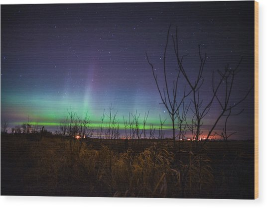 Central Minnesota Aurora Wood Print