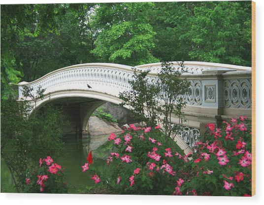 Central Park Bow Bridge In Spring Wood Print