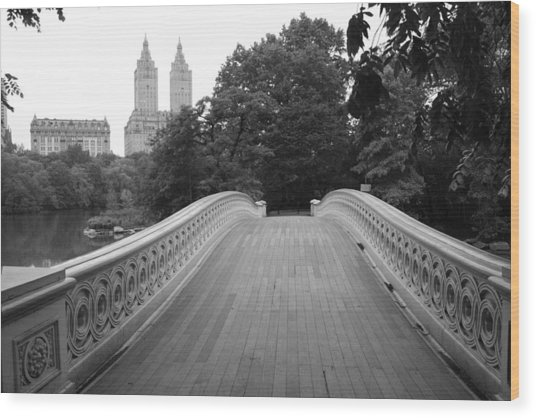 Central Park Bow Bridge With The San Remo Wood Print