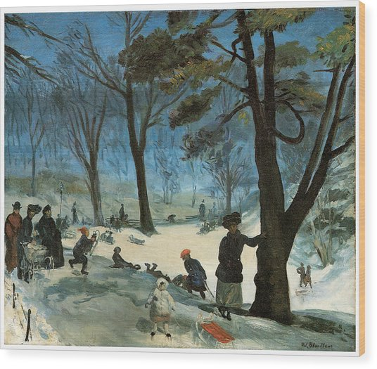 Central Park In Winter Wood Print by William Glackens