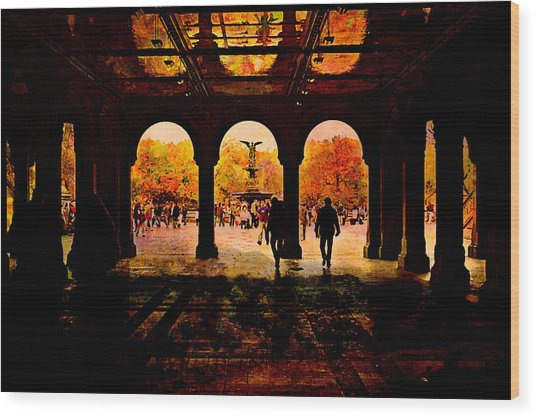 Central Park Nyc  Under The Bridge Wood Print