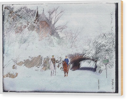 Central Park Snow Wood Print