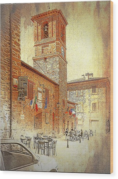 Central Square And Comune Building With Bell Tower Paciano Wood Print