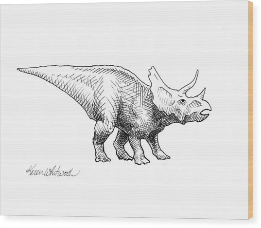 Cera The Triceratops - Dinosaur Ink Drawing Wood Print