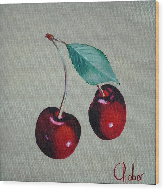 Cerises Wood Print by Veronique Chabot
