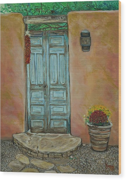 Cerrillios Blue Door Wood Print