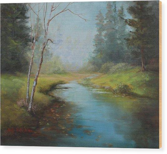 Cerulean Blue Stream Wood Print