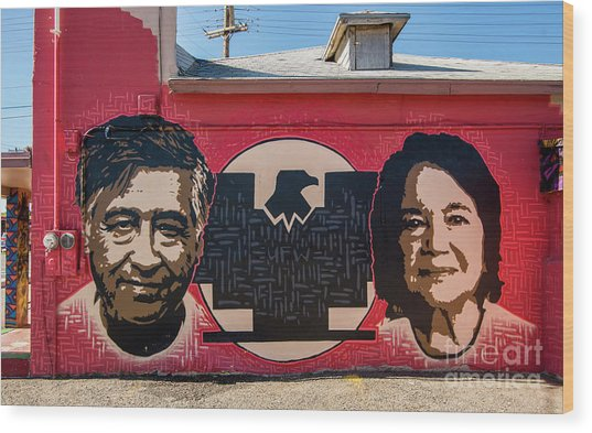 Cesar Chavez And Dolores Huerta Mural - Utah Wood Print