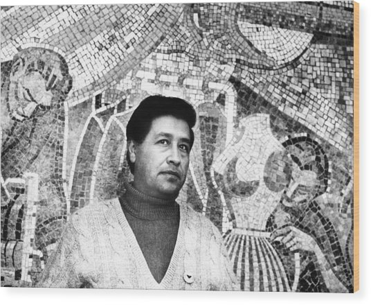 Cesar Chavez Stands In Front Of The Wood Print
