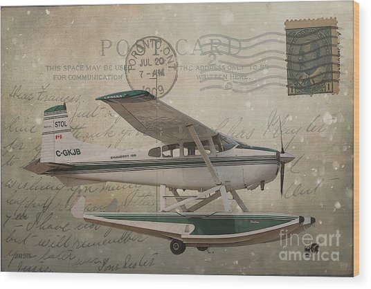 Cessna Skywagon 185 On Vintage Postcard Wood Print