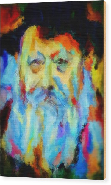 Chabad Lubavitch Rebbe Colorful Bright Acrylic Painting Menachem Schneerson Rabbi Crown Heights Rainbow Wood Print by MendyZ