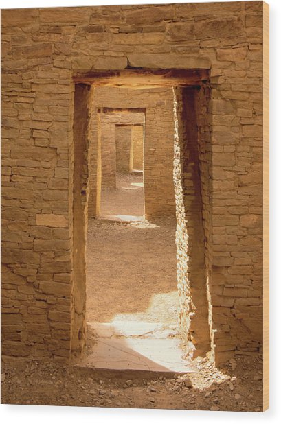 Chaco Ancient Doors   Wood Print