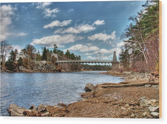 Chain Bridge On The Merrimack Wood Print