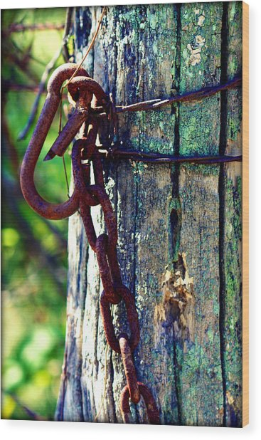 Chained Post Wood Print
