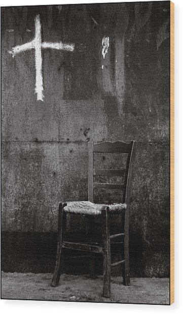Chair And Cross Chania Crete Wood Print by Werner Hammerstingl