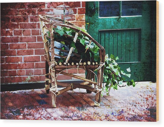 Chair And Ivy Wood Print by Elaine Manley
