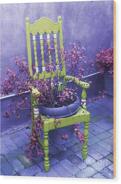 Chair In Chartreuse Wood Print