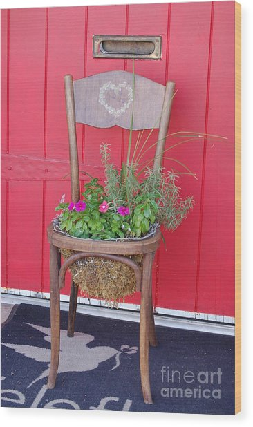 Chair Planter Wood Print