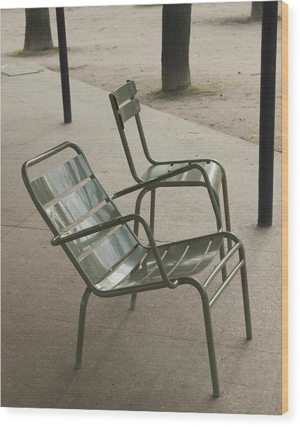 Chairs At Jardin Du Luxembourg Wood Print by Paolo Pizzimenti
