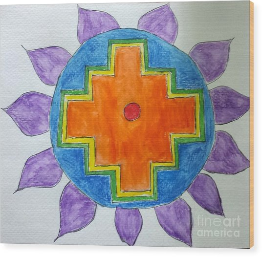Chakana Inka Cross Wood Print