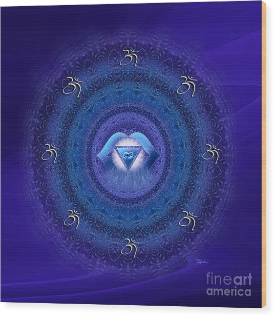 Chakra Mandala Art - Ajna Chakra Mandala By Rgiada Wood Print