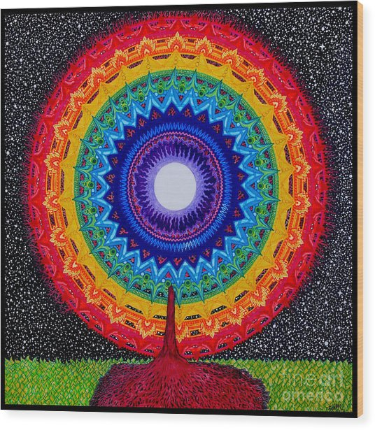Chakra Tree Of Life Wood Print