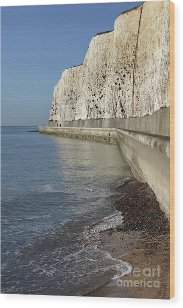 Chalk Cliffs At Peacehaven East Sussex England Uk Wood Print