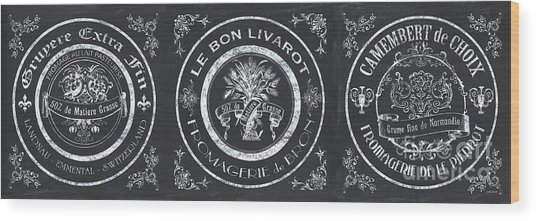 Chalkboard French Cheese Labels Wood Print