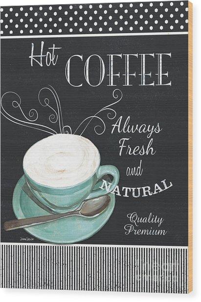 Chalkboard Retro Coffee Shop 1 Wood Print